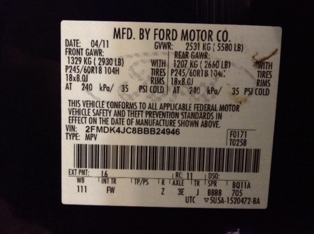 2011 Ford Edge SEL AWD 3.5 V6 SEL AWD Philips Repairables
